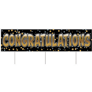 """Plastic Jumbo Congratulations Yard Sign With Metal Stakes 11.75"""" x 47"""", Black/Gold/Silver"""