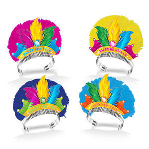 Colorful Rio Happy New Year's Eve Tiaras With Feathers