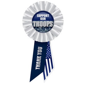 Support Our Troops Rosette - White