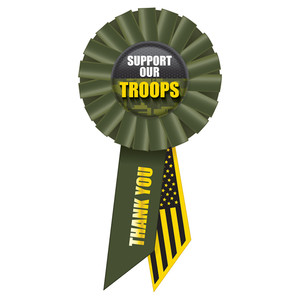Support Our Troops Rosette - Green