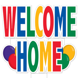 Jumbo Welcome Home Yard Sign With Stakes