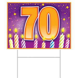 70th Birthday Yard Sign With Stakes