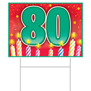 80th Birthday Yard Sign With Stake