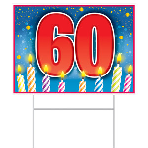 60th Birthday Yard Sign With Stakes