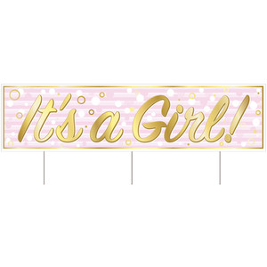 Jumbo It's A Girl Baby Shower Yard Sign With Stakes