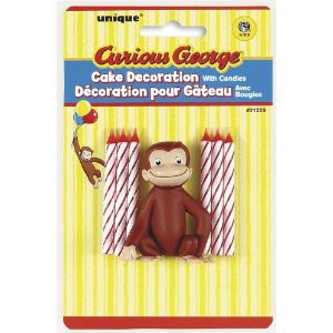 Curious George Cake Decorate with 6 candles
