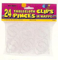 24 Clear Plastic Tablecover Clips