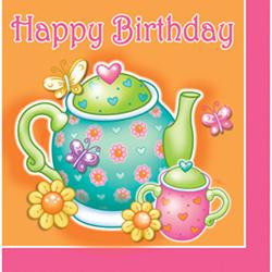 "16 Tea For You ""Happy Birthday"" Luncheon Napkins"