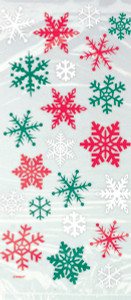 20 Red and Green Snowflake Cello Treat Bags