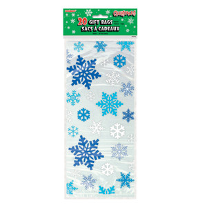 20 Snowflakes Blue Cello Treat Bags