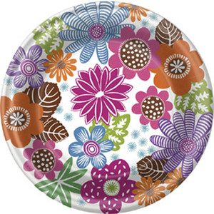 Fall Mod Floral 9 Inch Dinner Plate