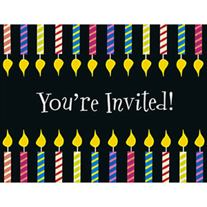 One More Candle Invitations 8 Pack