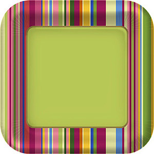 Colorful Stripes Dinner Plates 8 Pack