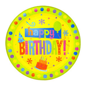 Birthday Fun Dots 9 Inches Dinner Plates