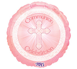 18 Inch Radiant Cross Pink Communion Foil Balloon