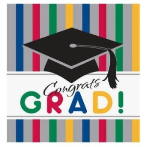 "Graduation Stripes Plastic Tablecover 54"" X 108"""