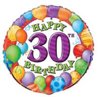 18 Inch Happy 30th Birthday Foil Balloon