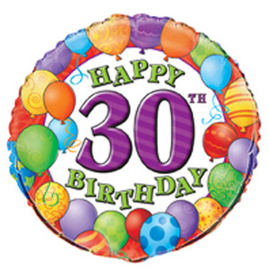 18 Inch Happy 30th Birthday Foil Balloon