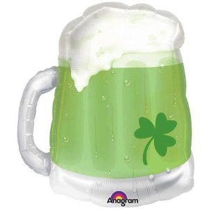 St. Patty's Green Beer Mug Seethru Supershape Balloon