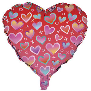 18 Inch Bulk Lots Of Hearts XO Foil Balloon