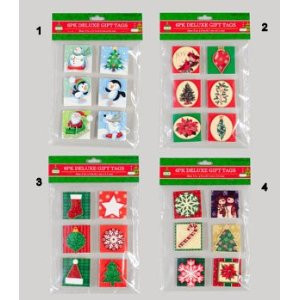 6 Pack of Deluxe Holiday Christmas Gift Tags 4 Styles