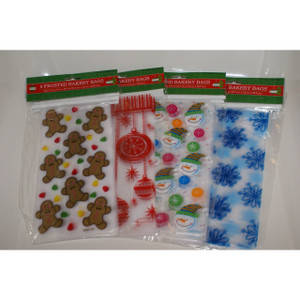 8 Pack Frosted Christmas Holiday Bakery Cookie Bags