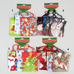 3 Pack Mini Christmas Gift Bags 4 Styles