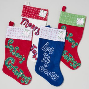 18 Inch Holiday Greetings Felt Stocking 4 Styles