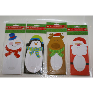 4 Pack Die-Cut Christmas Cookie and Treat Bags Four Styles