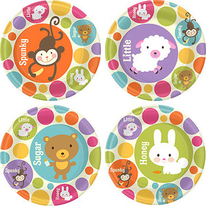 Baby Animal Dots Baby Shower 9 Inch Dinner Plates