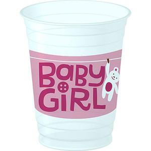 Cute as a Button Girl Plastic Cups 8 Pack