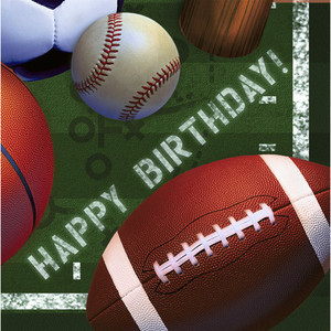 All Star Sports Happy Birthday Lunch Napkins 16 Count