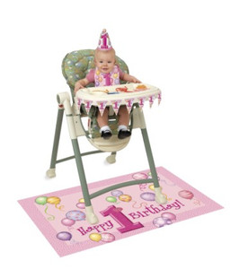 First Birthday Pink High Chair Kit