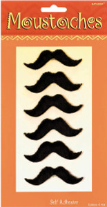 Fiesta Black Moustaches 6 Pack