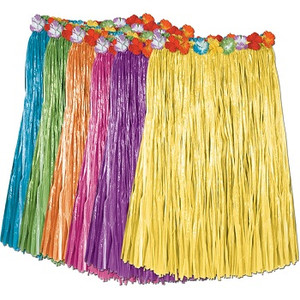 Child Artificial Grass Hula Skirt with Floral Waistband