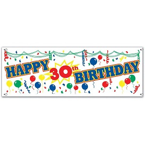 Happy 30th Birthday Sign Banner