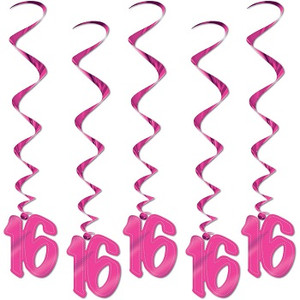 16 Whirls Pink Party Accessory 5 Count