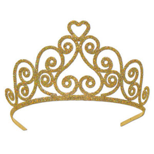 Glittered Gold Heart Tiara