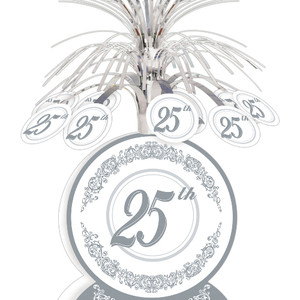 25th Anniversary Silver Foil Centerpiece