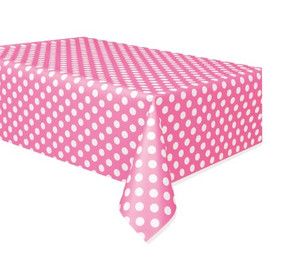 "Hot Pink Polka Dots Tablecover 54"" x 108"""