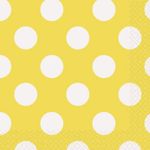 Sun Yellow Polka Dots Beverage Napkin 16 Pack