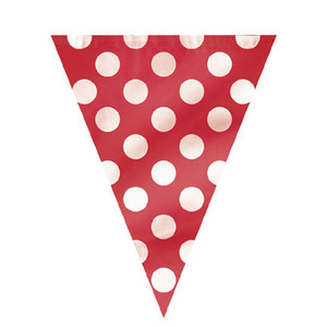 Ruby Red Polka Dots Flag Banner 12'