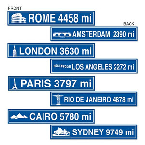 Travel Street Sign Cutouts Party Accessory