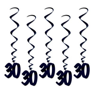 Number 30 Whirls Hanging Decorations