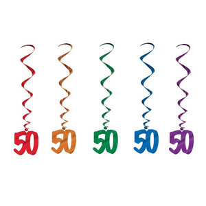 50th Birthday Dangling Whirls