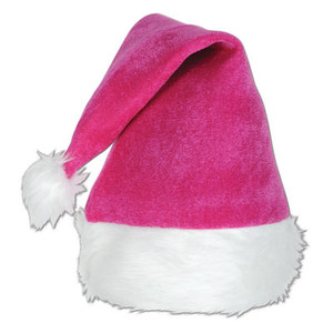 Pink Velvet Santa Hat with Plush Trim