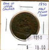 Bank of Upper Canada: 1850 Half Penny #4b