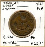 Bank of Upper Canada: 1852 Half Penny #4a