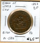 Bank of Upper Canada: 1852 Half Penny #4b