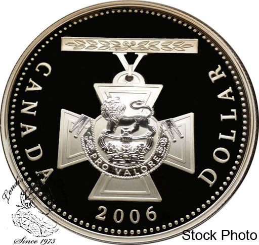 2006 CANADA VICTORIA CROSS PROOF SILVER DOLLAR WITH GOLD COIN